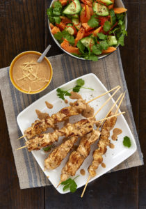 Chicken satay with papaya chilli salad