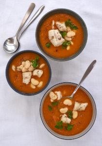 Tomato, butterbean, cod soup